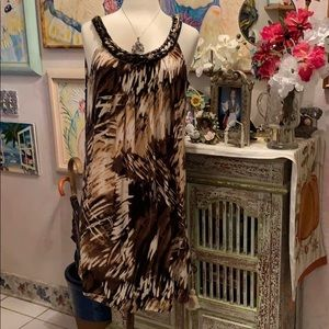 Sleeveless dress ,browns and cream. $25 NWOT